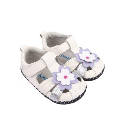 FREYCOO - Baby girls first steps soft leather shoes | Pink sandals with 3 flowers
