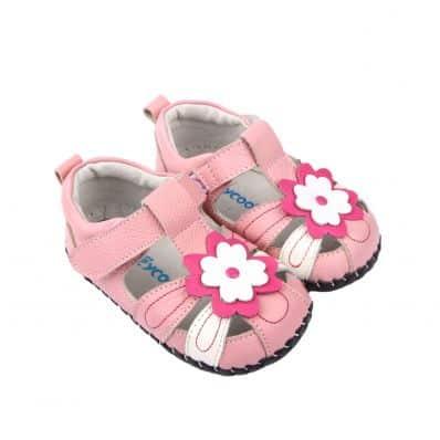 Chaussures premiers pas cuir souple Sandales PINK FLOWER