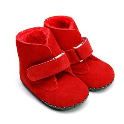 FREYCOO - Krabbelschuhe Babyschuhe Leder - Mädchen | Rot Stiefel