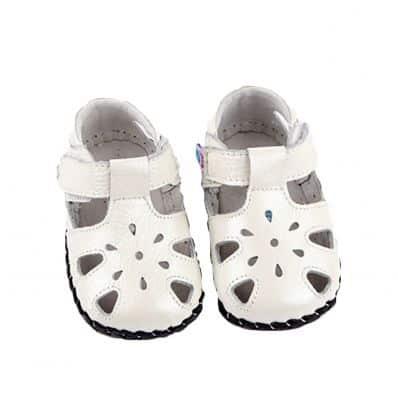 FREYCOO - Krabbelschuhe Babyschuhe Leder - Mädchen | Pink sandalen mit drei blumen
