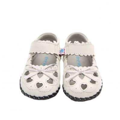 Little Blue Lamb - Baby girls first steps soft leather shoes | White sandals knot ceremony