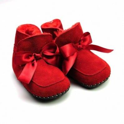 FREYCOO - Chaussures premiers pas cuir souple | Bottines fourrées rouge
