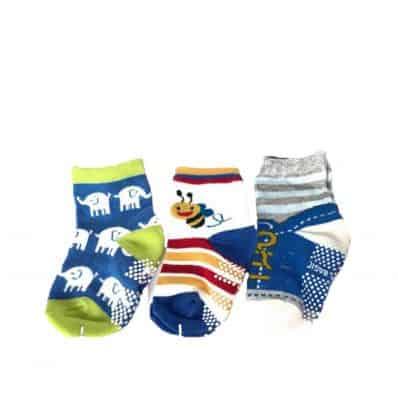 Lot de chaussettes antidérapantes ELEPHANT, ABEILLE, LACETS