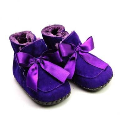 FREYCOO - Krabbelschuhe Babyschuhe Leder - Mädchen | Violette gefüllte Stiefel