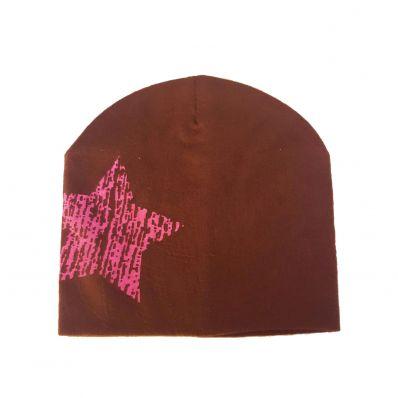 C2BB - Babymützen - one size   Braun mit rosa stern