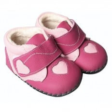 FREYCOO - Krabbelschuhe Babyschuhe Leder - Mädchen | Fushia rosa Herz