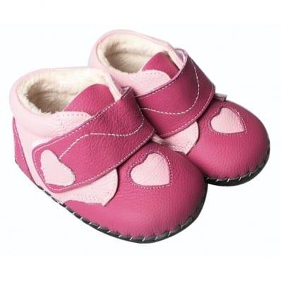 FREYCOO - Krabbelschuhe Babyschuhe Leder - Mädchen   Fushia rosa Herz