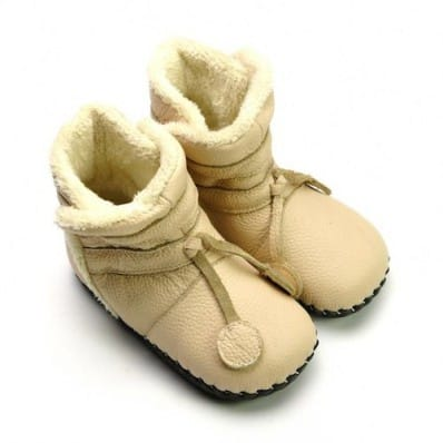 FREYCOO - Baby girls first steps soft leather shoes | Beige filled bottees
