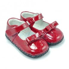 FREYCOO - Baby girls first steps soft leather shoes | Brilliant red ceremony