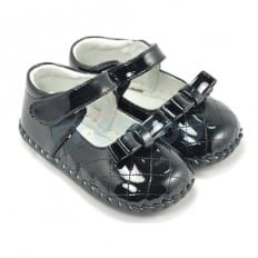 FREYCOO - Baby girls first steps soft leather shoes | Brilliant black ceremony