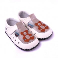 CAROCH - Baby boys first steps soft leather shoes | White red bear sandals