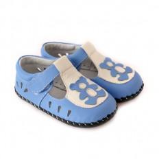 CAROCH - Chaussures premiers pas cuir souple | Sandales ourson bleu
