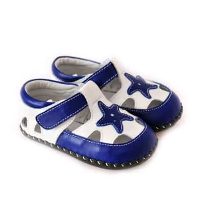 CAROCH - Baby boys first steps soft leather shoes | Blue star sandals