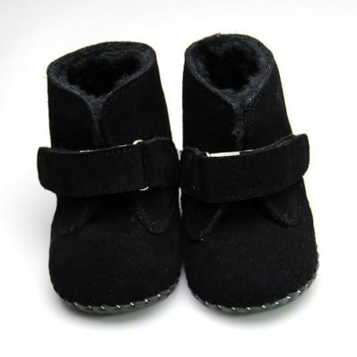 FREYCOO - Chaussures premiers pas cuir souple | Bottines noires