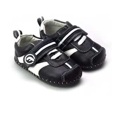 FREYCOO - Krabbelschuhe Babyschuhe Leder - Jungen | Schwarze und weiße Turnschuhe