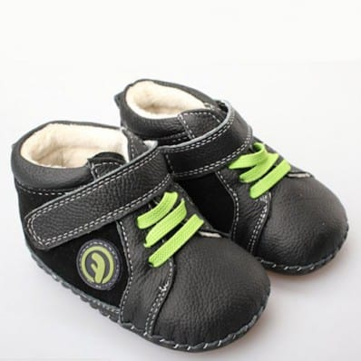 FREYCOO - Baby boys first steps soft leather shoes | Black green laces