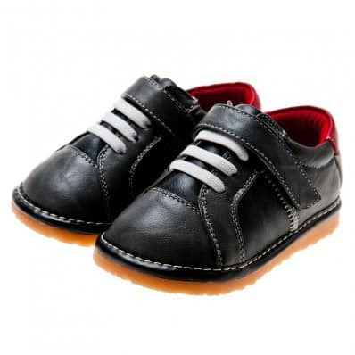 Little Blue Lamb - Squeaky Leather Toddler boys Shoes | Black sneakers