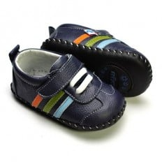 FREYCOO - Krabbelschuhe Babyschuhe Leder - Jungen | Sneakers Marineblau