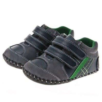 Little Blue Lamb - Chaussures premiers pas cuir souple | Baskets noires bande verte