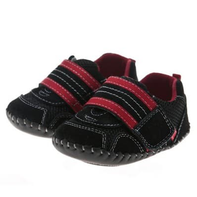Little Blue Lamb - Baby boys first steps soft leather shoes | Black sneakers with red strip