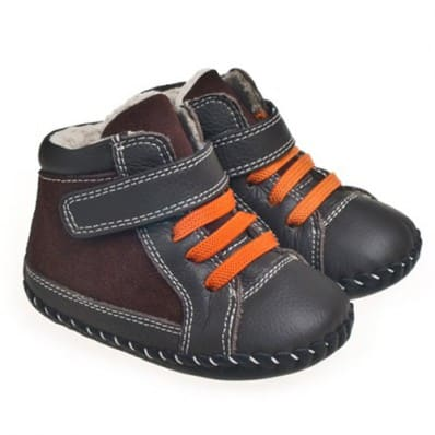 Little Blue Lamb - Baby boys first steps soft leather shoes | Brown grey Bootees with orange laces